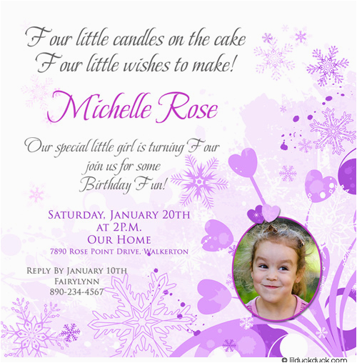 4th birthday party invitation wording