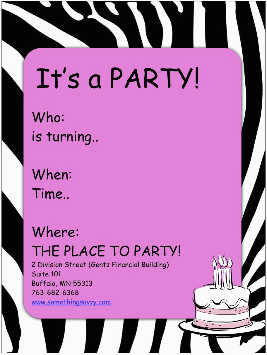Birthday Party Invitations For Girls Printable