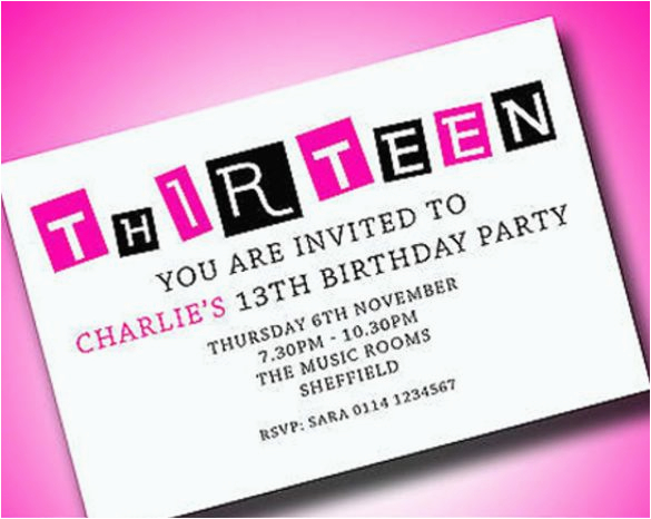 Free 13th Birthday Invitations Personalised Boys Girls Teenager Party