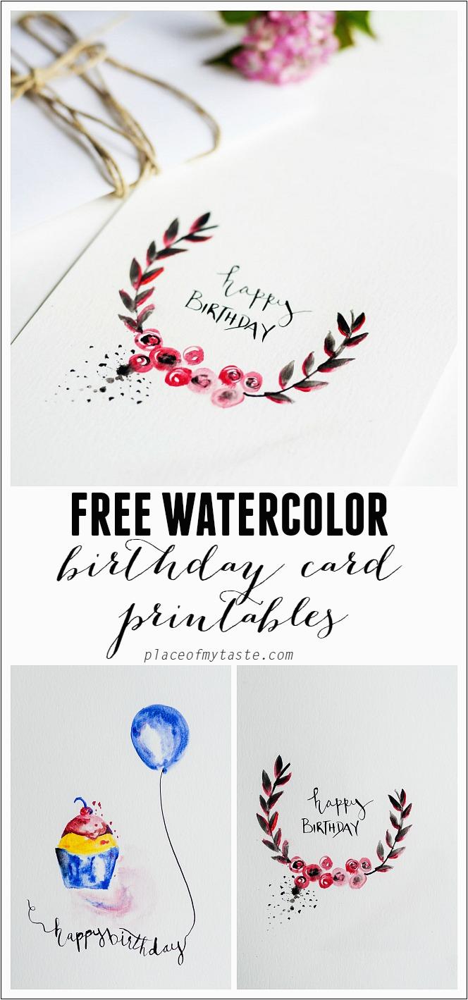 free watercolor birthday card printables