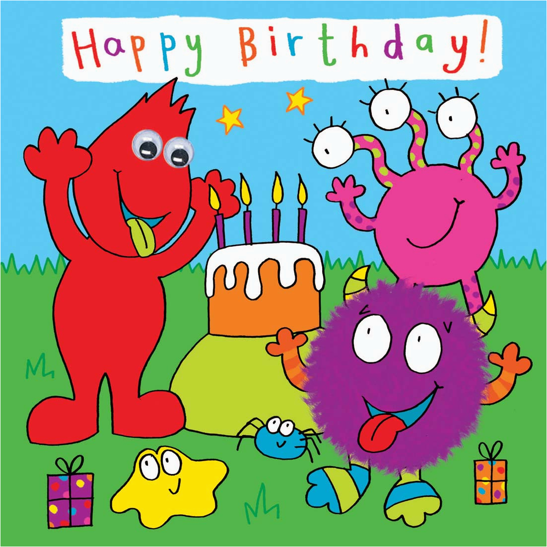 Childrens Birthday Card Monster Party 375 P