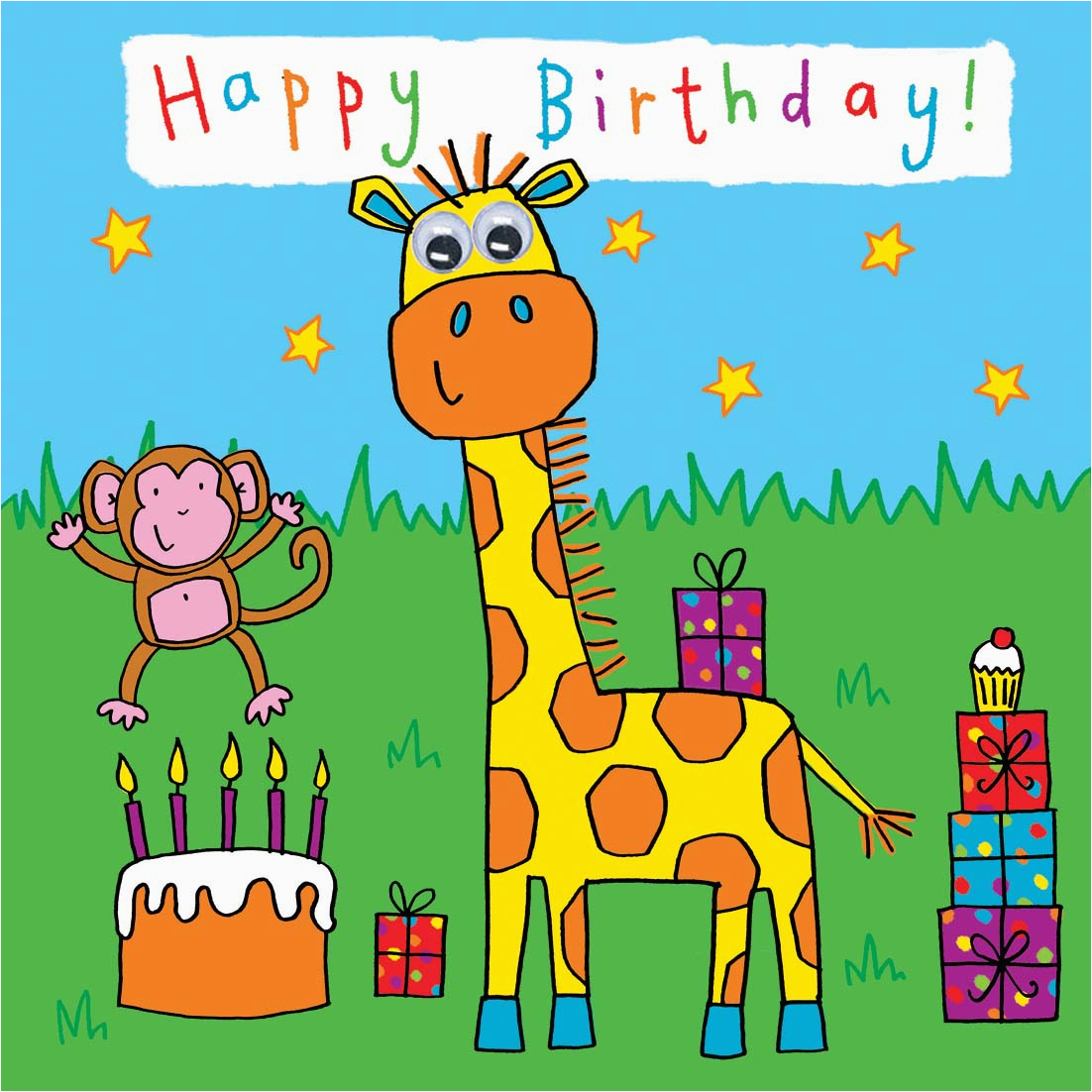 Childrens Birthday Card Giraffe 330 P