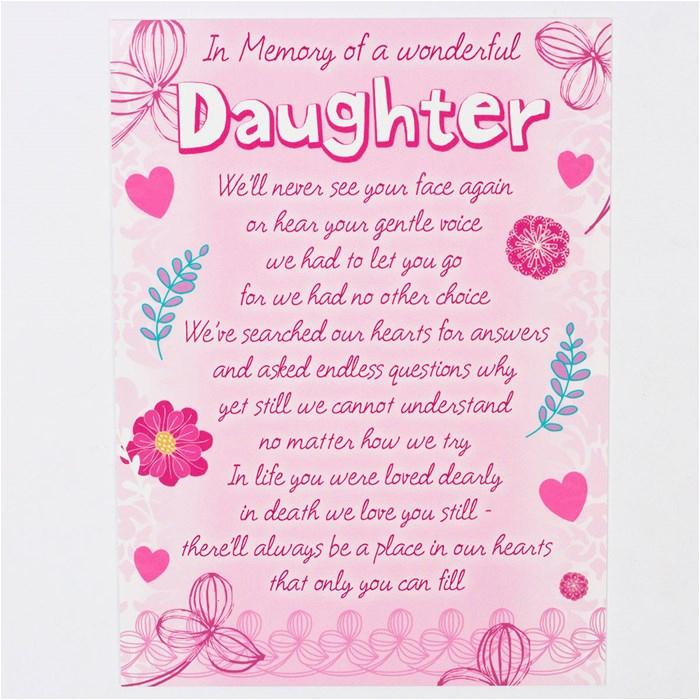 memorial card wonderful daughter only 99p