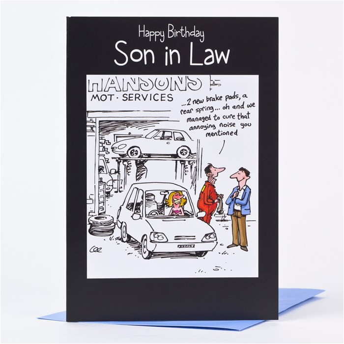 birthday card son in law car sketch