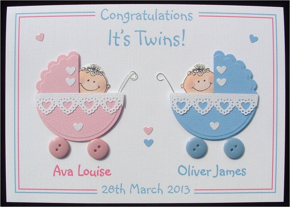 Free Birthday Cards For Twins Personalised Handmade 3d New Baby Card Ebay