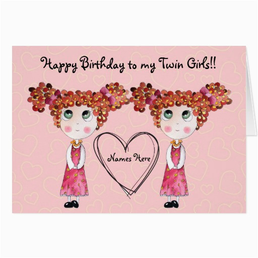 twin girls happy birthday customisable card 137276806644900074