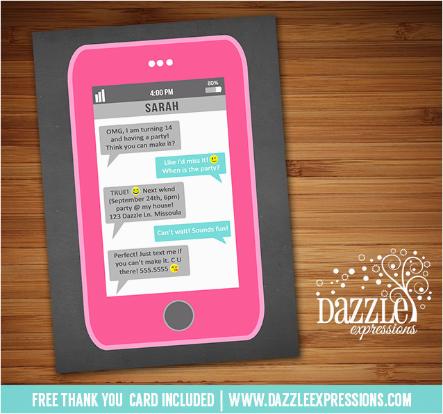 printable cell phone text message chalkboard birthday