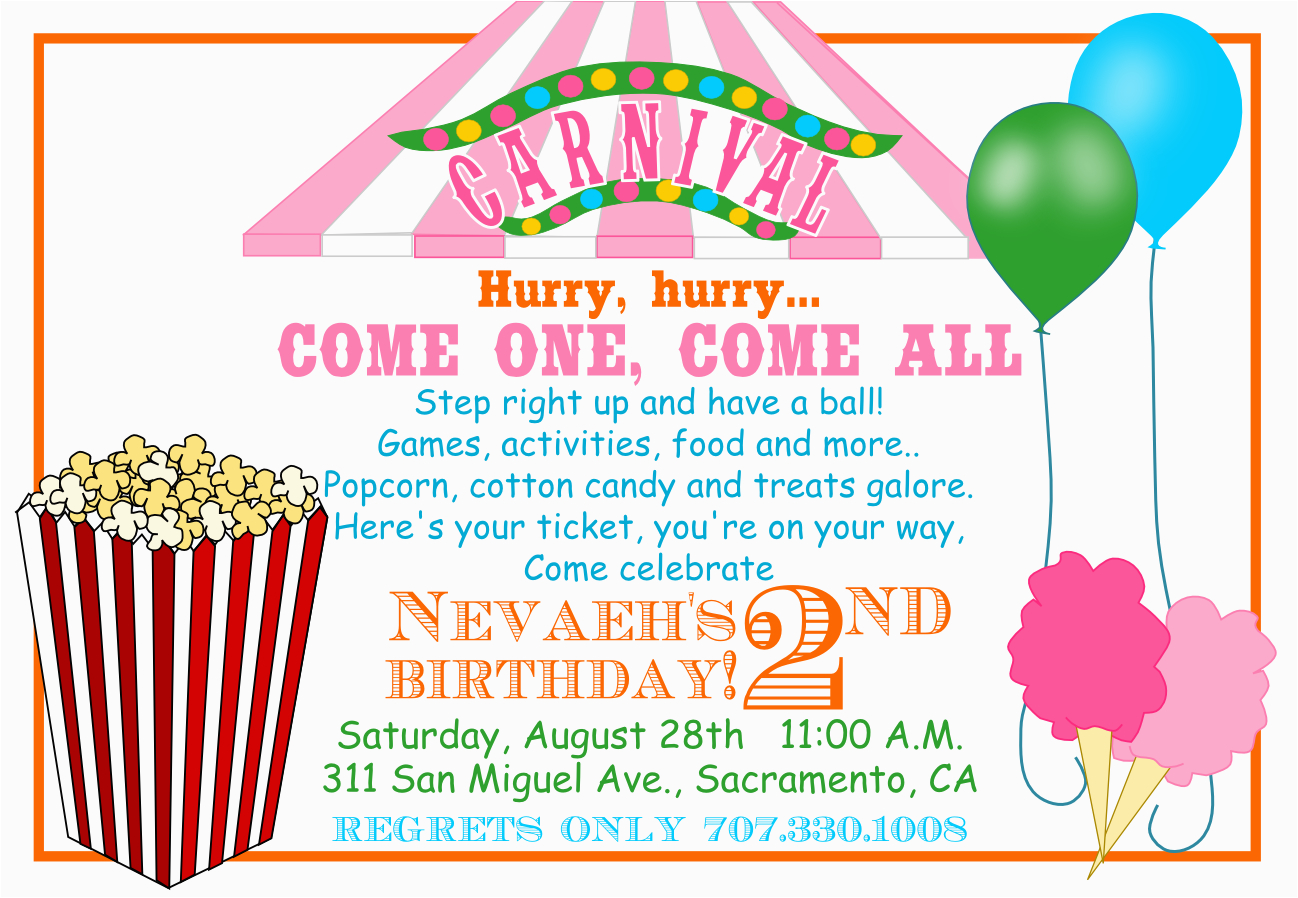 Free Carnival Birthday Invitations Template Invitation