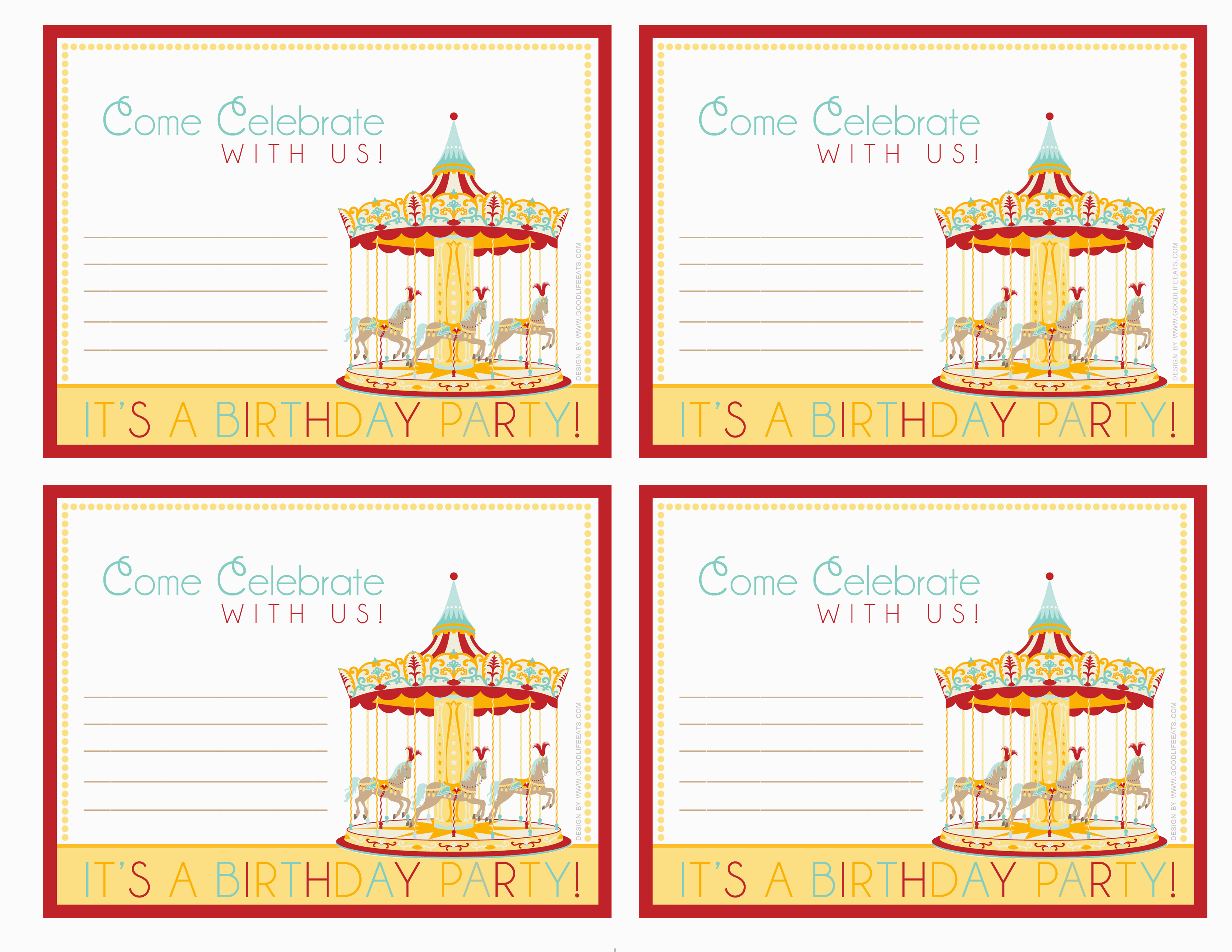 Free Circus Birthday Invitations Printables 6 Best Images Of Printable Carnival