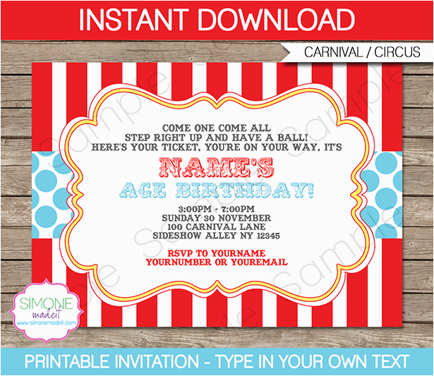 carnival party invitation aqua