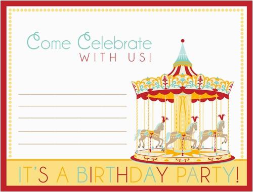carnival birthday party deas free printable invites