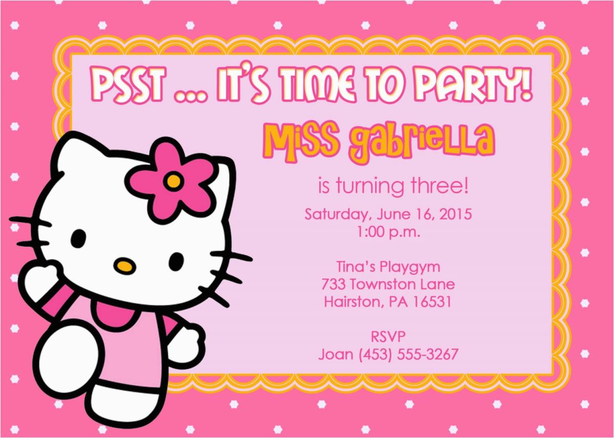 Free Digital Birthday Invitation Cards Hello Kitty Card Maker Beautiful Party