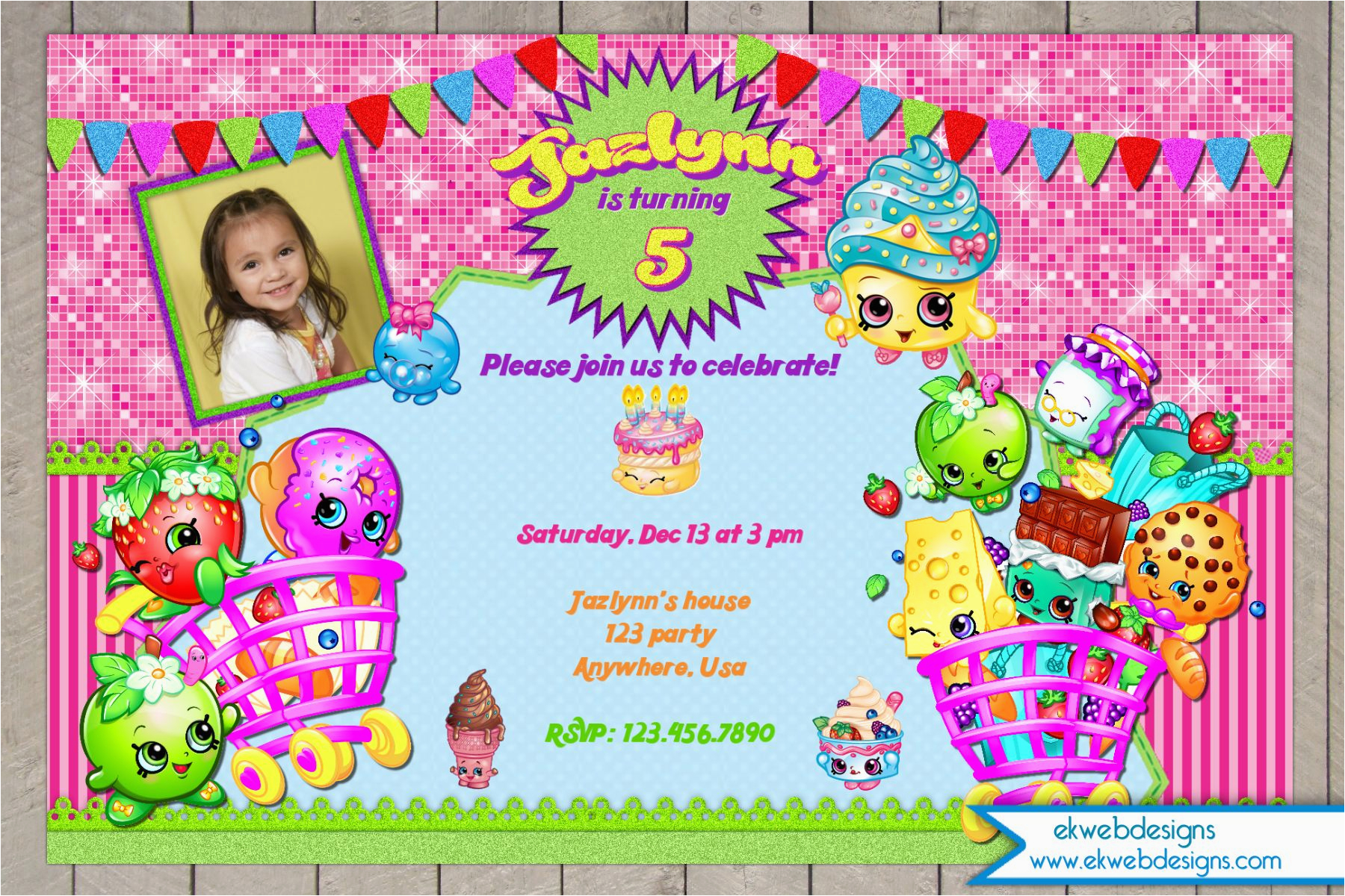 Free Digital Birthday Invitation Cards Shopkins File