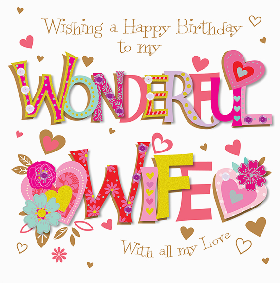 wishing my wonderful wife happy birthday greeting card cards