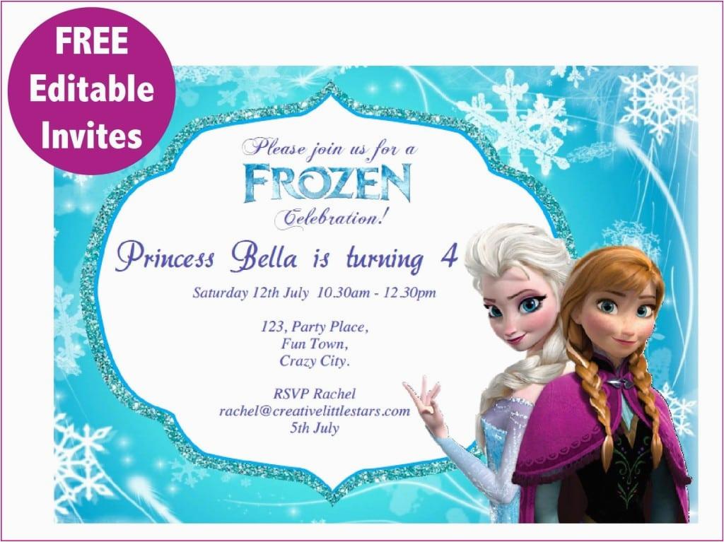 frozen free editable birthday invitation