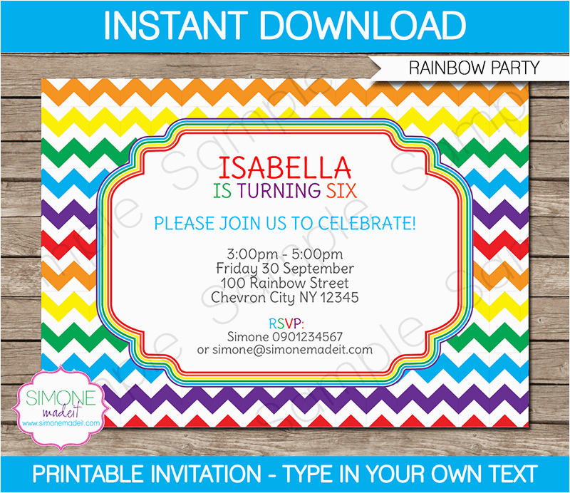 Free Editable Birthday Invitations Rainbow Party Template