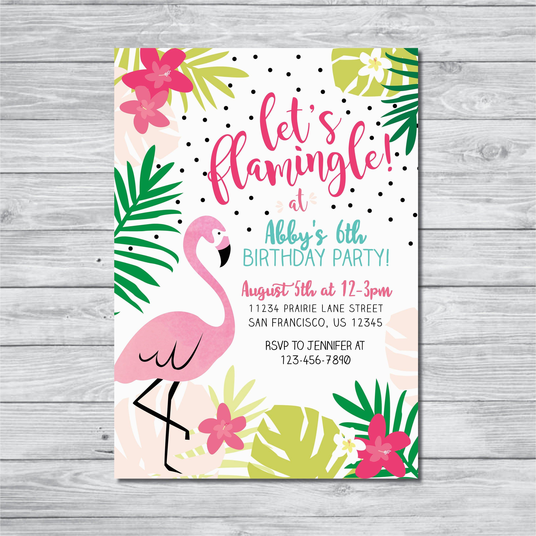 flamingo birthday invitation lets