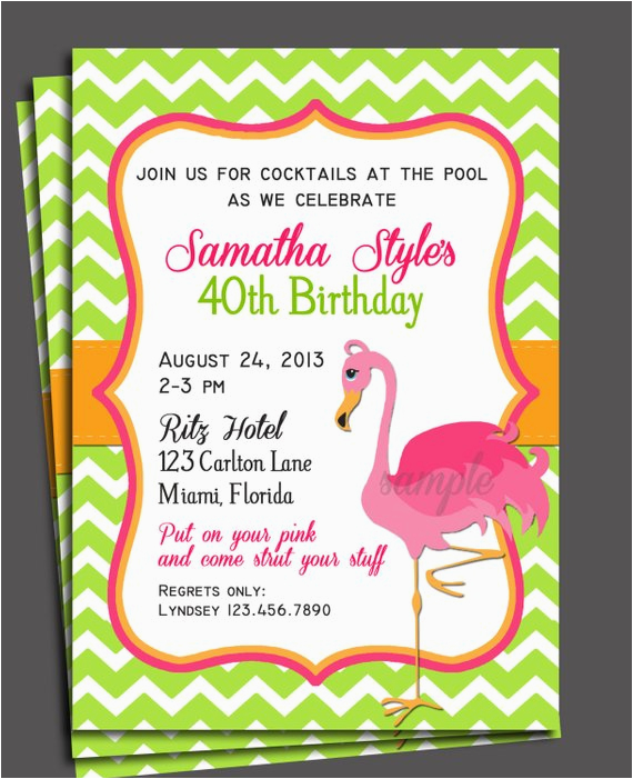pink flamingo invitation printable birthday baby