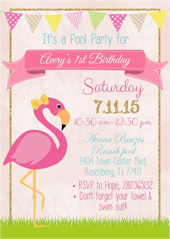 Free Flamingo Birthday Invitations Pink Pool Party Invitation Printable File