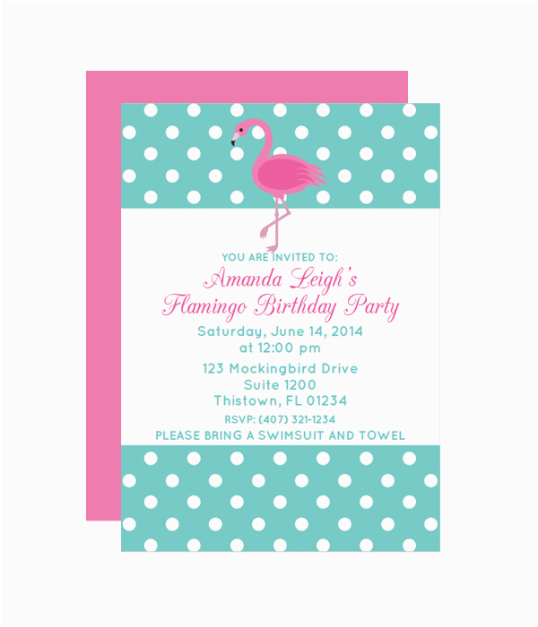 polka dot flamingo party invitation