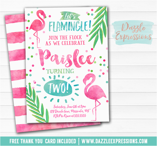 Free Flamingo Birthday Invitations Printable Watercolor Invitation Luau