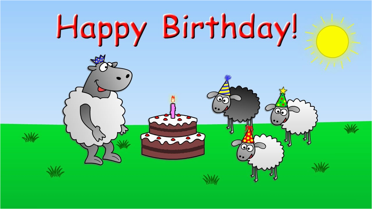 Free Funny Animated Birthday Cards With Music Happy Sheep Cartoon