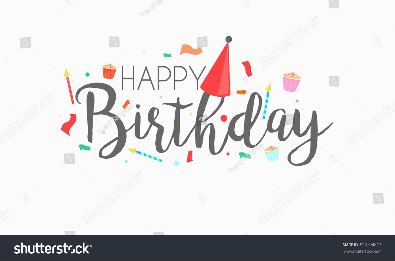 happy birthday typographic vector design greeting 523194817