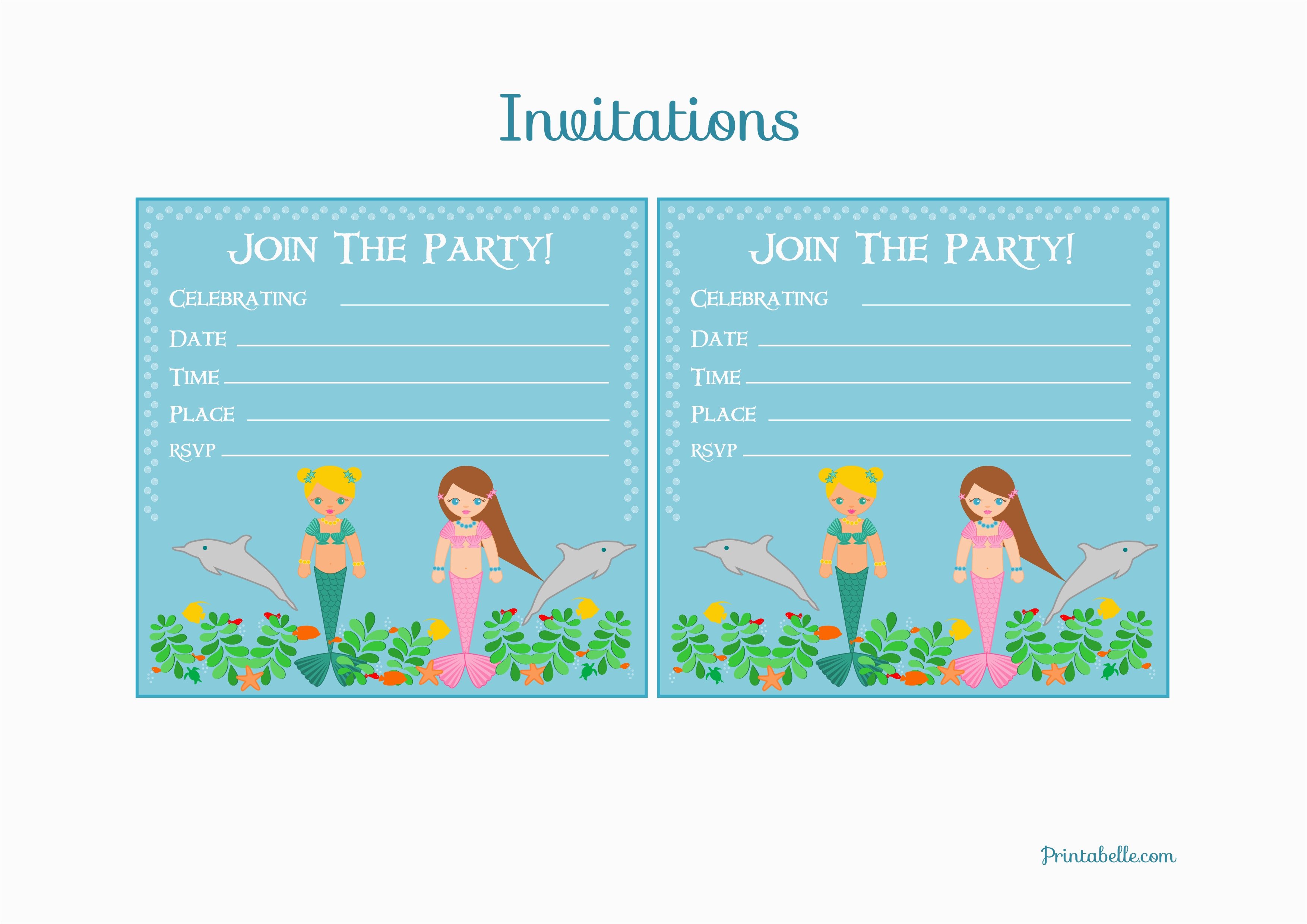 Free Mermaid Birthday Invitations Party Printables From Printabelle