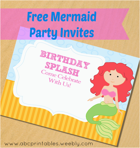 Free Mermaid Birthday Invitations Printable Little Party
