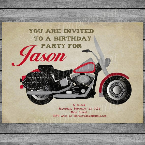 motorcycle birthday invitation card vintage boy