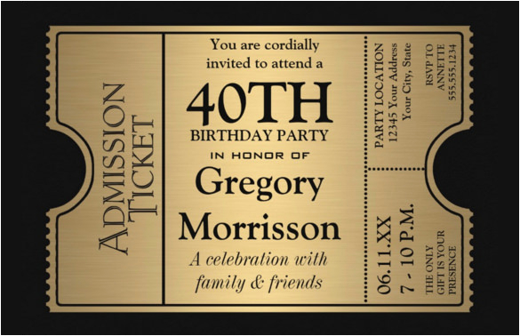 Free Online 40th Birthday Invitation Templates 40th Birthday Party Invitations First Birthday Invitations