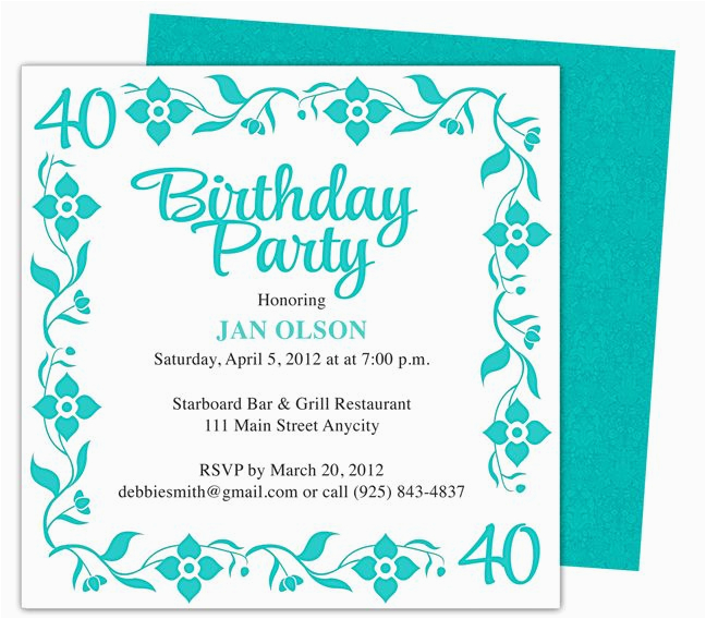 Free Online 40th Birthday Invitation Templates Border 40th Birthday Party Invitation Templates Shown Here