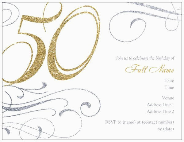 Free Online 50th Birthday Invitation Templates Printable A