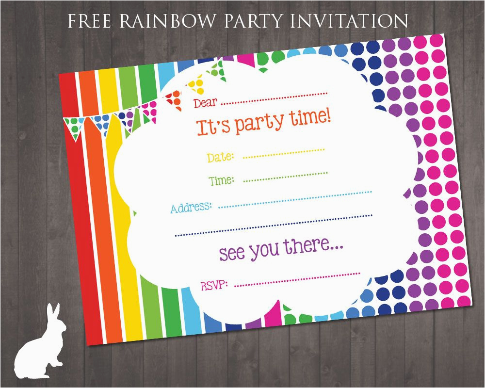 Free Online Birthday Invitations with Photos Free Rainbow
