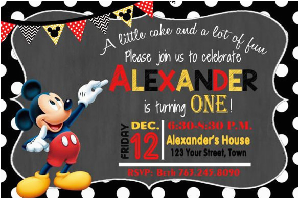 sample mickey mouse invitation