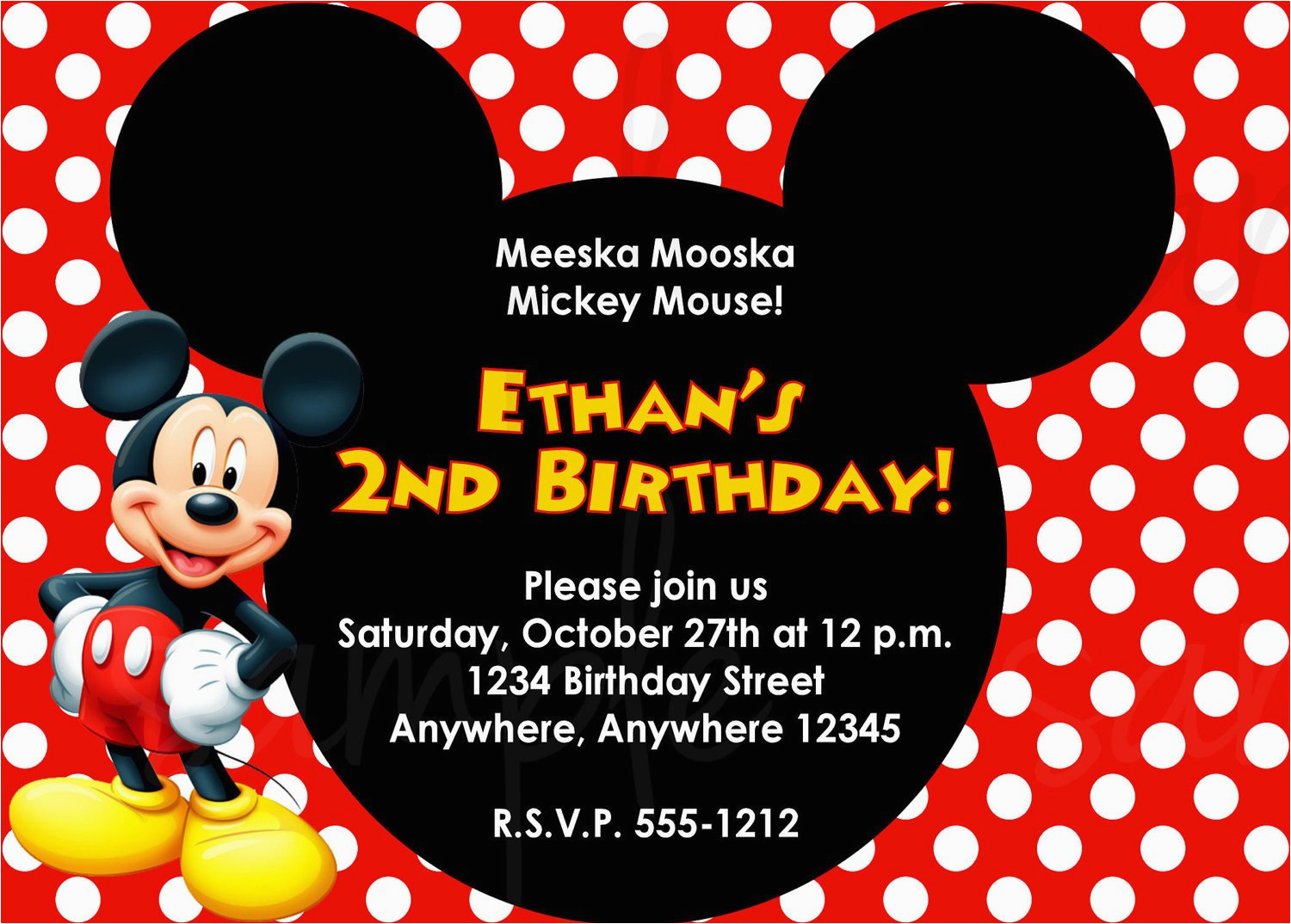 Free Online Mickey Mouse Birthday Invitations Mickey Mouse Birthday Invitation