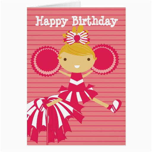 cheerleader in red personalized birthday cards 137888889835780965