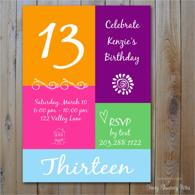 Free Printable 13th Birthday Party Invitations Invitation Ideas Bagvania