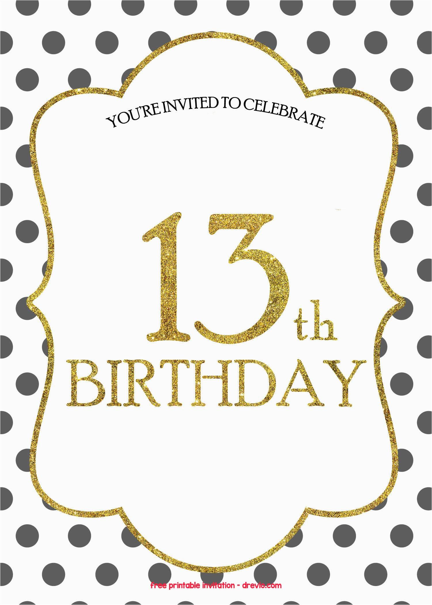 Free Printable 13th Birthday Party Invitations Templates Invitation