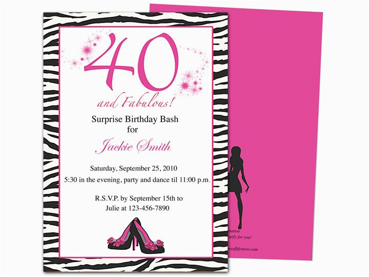 Free Printable 40th Birthday Invitations Party Invites Home Templates
