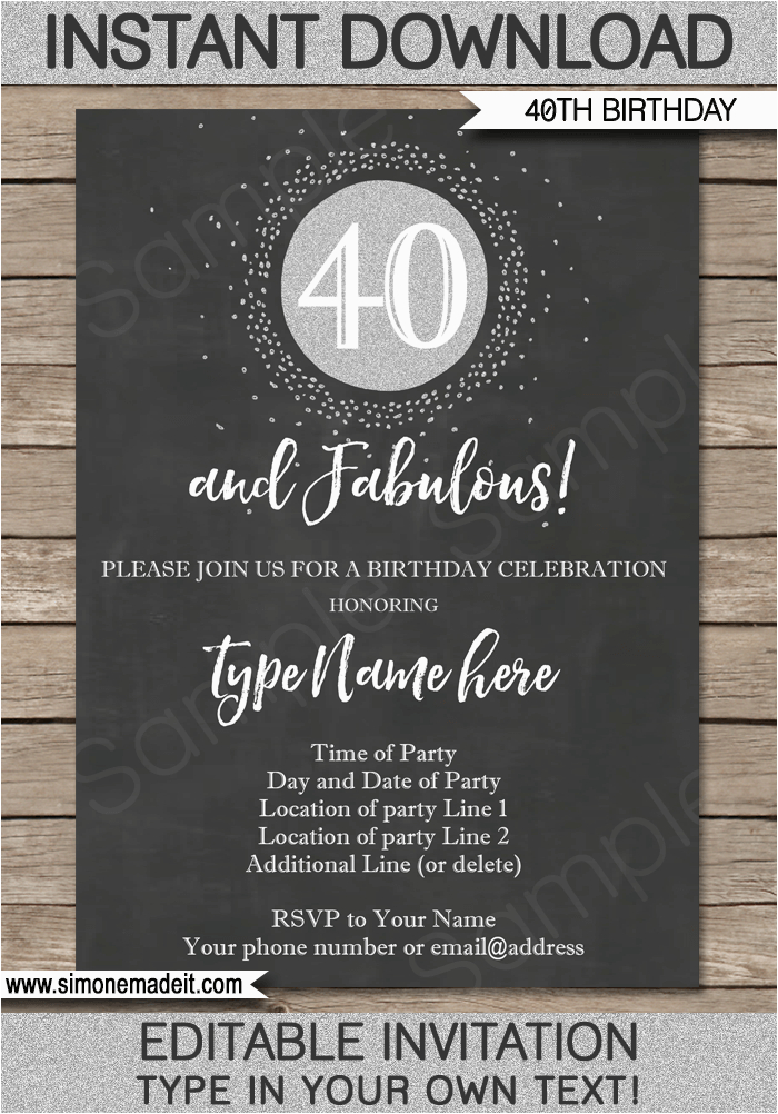 Free Printable 40th Birthday Party Invitation Templates Chalkboard Invitations Template