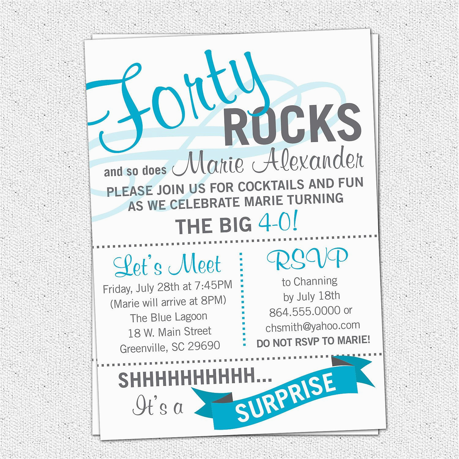 Free Printable 40th Birthday Party Invitation Templates Forty Rocks Bash