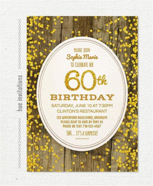 Free Printable 60th Birthday Cards Invitation Templates 24 Psd Vector