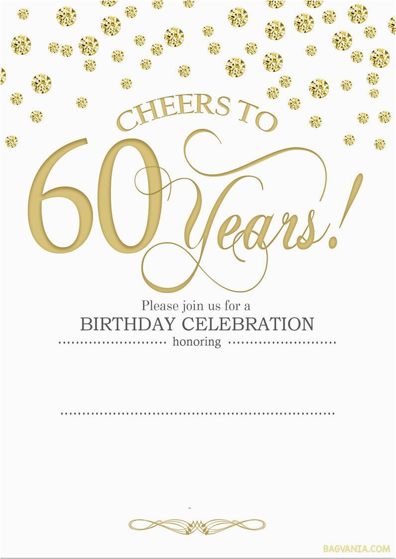 Free Printable 60th Birthday Cards Cool Invitation Templates
