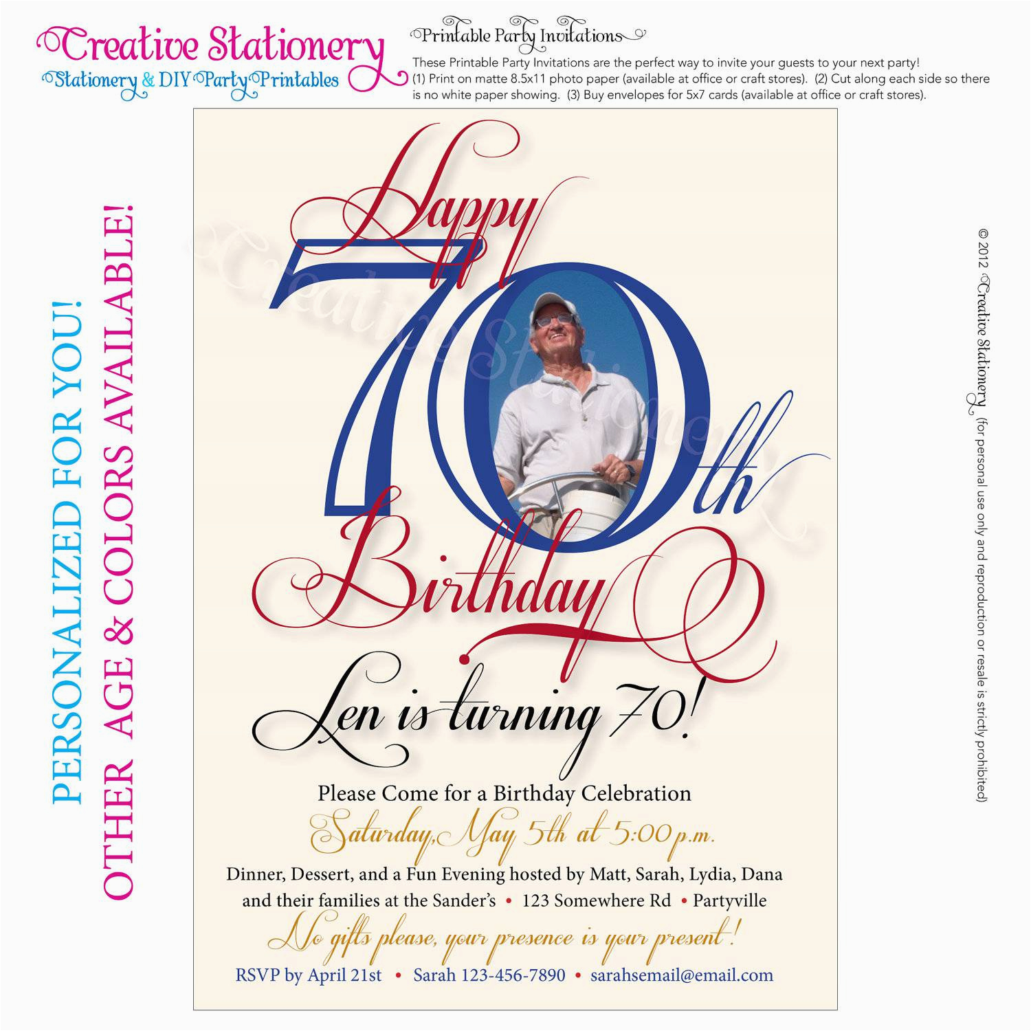 Free Printable 70th Birthday Cards Party Invitations Templates