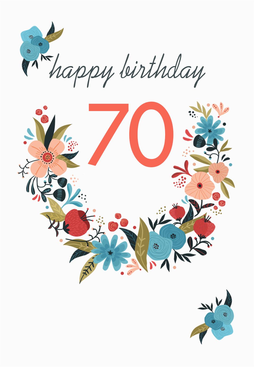 Free Printable 70th Birthday Cards Floral 70 Free Birthday Card Greetings island