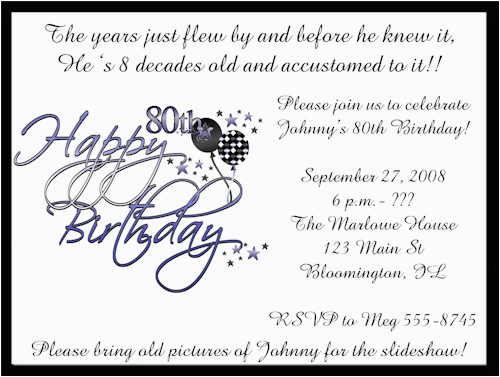 Free Printable 80th Birthday Invitations Templates Invitation
