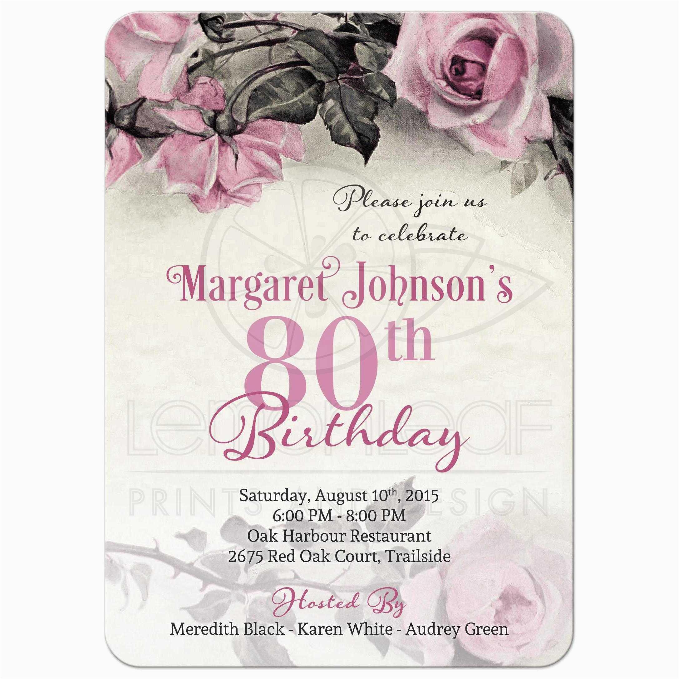 Free Printable 80th Birthday Invitations Templates Party