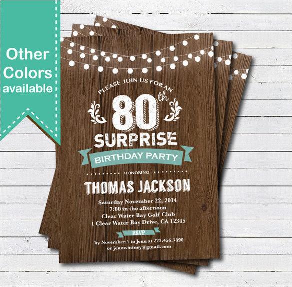 Free Printable 80th Birthday Invitations Templates Invitation Template 44 Word Pdf Psd Ai