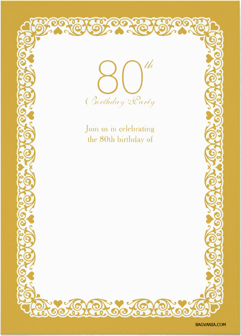 Free Printable 80th Birthday Invitations Bagvania